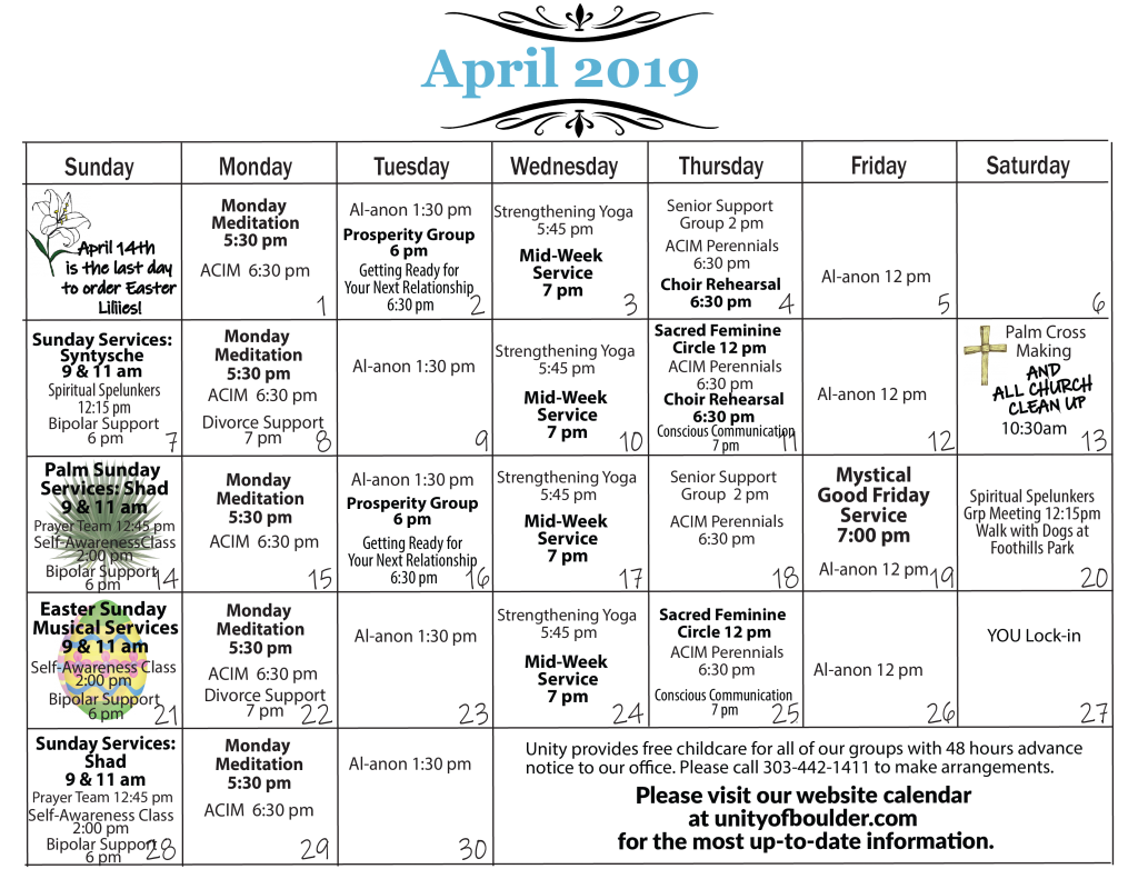 Unity of Boulder Calendar for April 2019