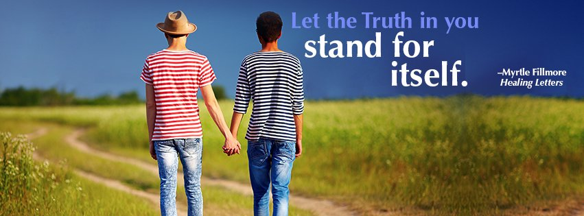 "A couple of unspecified gender holding hands, walking down a dirt path into a field. ""Let the Truth in you stand for itself."" -Myrtle Fillmore, Healing Letters"